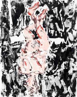 Georg Baselitz, auf der Eisbahn (On the Ice Rink), 2019 Oil on canvas, 98 ½ × 78 ¾ inches (250 × 200 cm)© Georg Baselitz. Photo: Jochen Littkemann