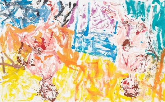 Georg Baselitz, Wenn das Wörtchen wenn nicht wär, wärs Lichtenstein gewesen (If if were not a word, it would have been Lichtenstein), 2019 Oil on canvas, 99 ⅝ × 161 inches (253 × 410 cm)© Georg Baselitz. Photo: Jochen Littkemann