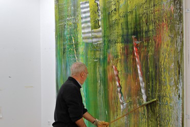 Gerhard Richter working on one of his Cage paintings, Cologne, 2006