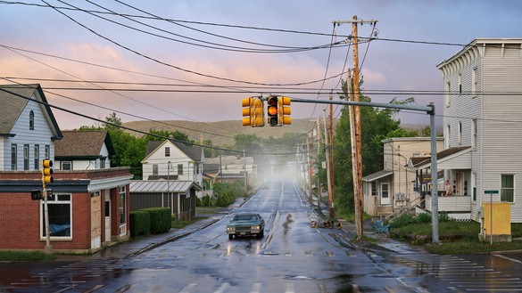 Gregory Crewdson, Alone Street, 2018–19 Digital pigment print, image: 50 × 88 ⅞ inches (127 × 225.7 cm), framed: 57 × 96 × 2 inches (144.8 × 243.8 × 5.1 cm), edition of 4 + 2 AP© Gregory Crewdson