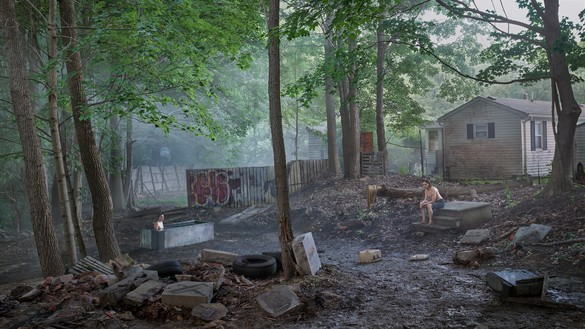 Gregory Crewdson, Funerary Back Lot, 2018–19 Digital pigment print, image: 50 × 88 ⅞ inches (127 × 225.7 cm), framed: 57 × 96 × 2 inches (144.8 × 243.8 × 5.1 cm), edition of 4 + 2 AP© Gregory Crewdson