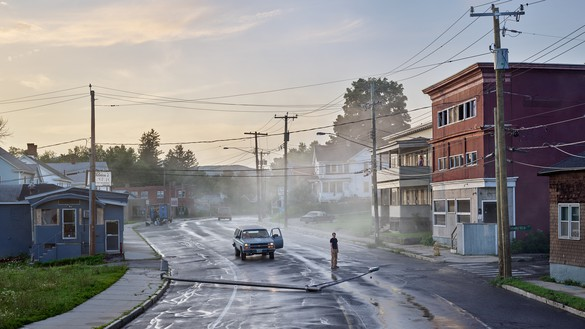 Gregory Crewdson, Starkfield Lane, 2018–19 Digital pigment print, image: 50 × 88 ⅞ inches (127 × 225.7 cm), framed: 57 × 96 × 2 inches (144.8 × 243.8 × 5.1 cm), edition of 4 + 2 AP© Gregory Crewdson