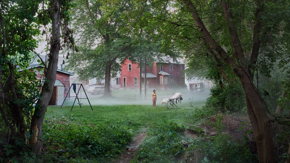 Gregory Crewdson, Cherry Street, 2018–19 Digital pigment print, image: 50 × 88 ⅞ inches (127 × 225.7 cm), framed: 57 × 96 × 2 inches (144.8 × 243.8 × 5.1 cm), edition of 4 + 2 AP© Gregory Crewdson