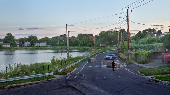 Gregory Crewdson, Silver Lake Boulevard, 2018–19 Digital pigment print, image: 50 × 88 ⅞ inches (127 × 225.7 cm), framed: 57 × 96 × 2 inches (144.8 × 243.8 × 5.1 cm), edition of 4 + 2 AP© Gregory Crewdson