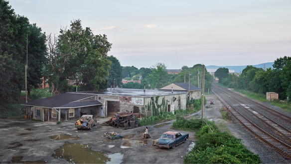 Gregory Crewdson, The Taxi Depot, 2018–19 Digital pigment print, image: 50 × 88 ⅞ inches (127 × 225.7 cm), framed: 57 × 96 × 2 inches (144.8 × 243.8 × 5.1 cm), edition of 4 + 2 AP© Gregory Crewdson