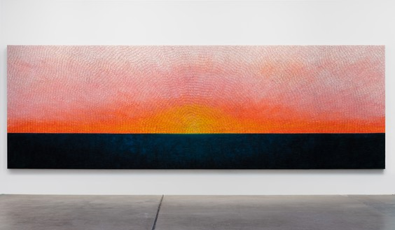 Jennifer Guidi, As I Look into You I Begin to See Myself, 2019 Sand, acrylic, and oil on linen, 76 × 232 inches (193 × 589.3 cm)© Jennifer Guidi