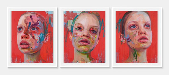 Jenny Saville, Elpis, 2020 Oil on canvas, in 3 parts, overall: 59 ⅛ × 141 ¾ inches (150 × 360 cm)© Jenny Saville. Photo: Prudence Cuming Associates