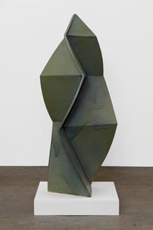 John Mason, Folded Spear, Blue Green, 2016 Glazed ceramic, 62 × 27 × 27 inches (157.5 × 68.6 × 68.6 cm)© 2016 Estate of John Mason. All rights reserved. Photo: Jeff McLane
