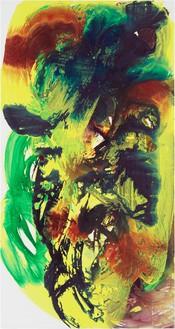 Katharina Grosse, Untitled, 2019 Acrylic on canvas, 149 ⅝ × 78 ¾ inches (380 × 200 cm)© Katharina Grosse and VG Bild-Kunst, Bonn, Germany 2020. Photo: Jens Ziehe