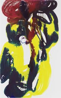 Katharina Grosse, Untitled, 2019 Acrylic on canvas, 152 ¾ × 94 ½ inches (388 × 240 cm)© Katharina Grosse and VG Bild-Kunst, Bonn, Germany 2020. Photo: Jens Ziehe