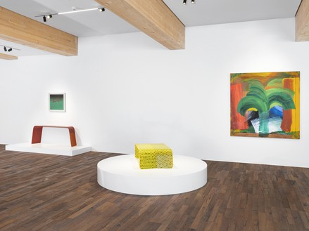 Installation view Artwork, left to right: © Marc Newson; © Ed Ruscha; © Marc Newson; Howard Hodgkin, In Tangier, 1987–90 © The Estate of Howard Hodgkin. Photo: Julien Gremaud