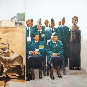 Meleko Mokgosi, Bread, Butter, and Power, 2018 (detail) Oil, acrylic, bleach, graphite, photo and pigment transfer, and permanent marker on canvas, with plastic sleeve, in 21 parts; 1 part: 108 × 72 inches (274.3 × 182.9 cm), 18 parts, each: 96 × 96 inches (243.8 × 243.8 cm), 1 part: 96 × 132 inches (243.8 × 335.3 cm), 1 part: 84 × 12 × 12 inches (213.4 × 30.5 × 30.5 cm) © Meleko Mokgosi