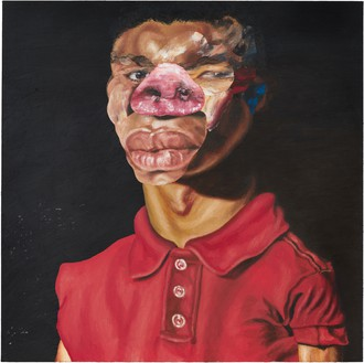 Nathaniel Mary Quinn, Pig Target, 2020 Oil paint, paint stick, and oil pastel on linen canvas over wood panel, 36 × 36 inches (91.4 × 91.4 cm)© Nathaniel Mary Quinn. Photo: Rob McKeever