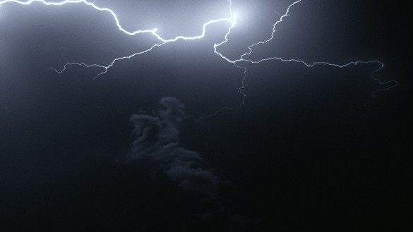 Piero Golia, Untitled (lightning), 2020 (still) 35mm film (color, silent, 1 min. 57 sec.) and projector, overall dimensions variable; photography: Martin Lisius, StormStock© Piero Golia