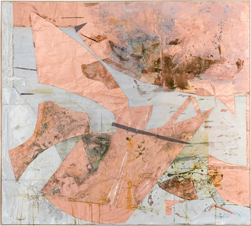 Rudolf Polanszky, Reconstructions / Choros, 2020 Aluminum, copper foil, mirrored foil, resin, silicone, cardboard, acrylic glass, pigment, and acrylic on wood, in artist's frame, 61 ½ × 68 ¼ inches (156.1 × 173.2 cm)© Rudolf Polanszky. Photo: Jorit Aust