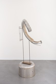 Rudolf Polanszky, Tube Sculpture, 2009 Aluminum tube, resin, acrylic, acrylic glass, and mirror foil on metal stand with metal table, 70 ⅛ × 32 ¾ × 23 ⅝ inches (178 × 83 × 60 cm)