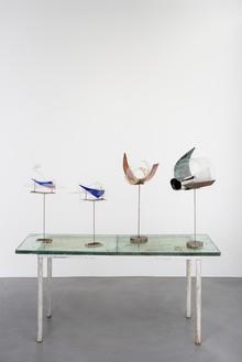 Rudolf Polanszky, Reconstructions / Archeology / Archaic Fragments, 2020 Glass, acrylic glass, resin, silicone, and acrylic on metal stand, 61 ⅜ × 63 × 23 ⅝ inches (156 × 160 × 59.9 cm)© Rudolf Polanszky. Photo: Jorit Aust