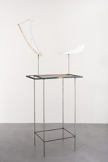 Rudolf Polanszky, Half Sculpture / Hovering Fragments, 2020 Acrylic glass, resin, acrylic, on metal stand with metal table, 92 ⅜ × 50 ⅜ × 22 ¾ inches (234.5 × 127.8 × 57.6 cm)© Rudolf Polanszky. Photo: Jorit Aust