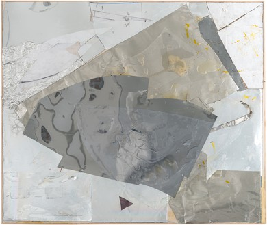 Rudolf Polanszky, Reconstructions / Translinear Fragments, 2020 Aluminum, resin, silicone, cardboard, mirrored foil, acrylic glass, pigment, and acrylic on canvas, in artist's frame, 51 ⅝ × 61 ¼ inches (131.1 × 155.6 cm)© Rudolf Polanszky. Photo: Jorit Aust