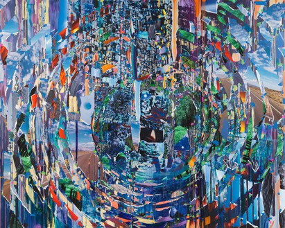 Sarah Sze, Ripple (Times Zero), 2020 Oil, acrylic, acrylic polymers, ink, aluminum, archival paper, oil stick, pencil, graphite, string, pushpin, diabond, and wood, 114 × 142 ½ inches (289.6 × 362 cm)© Sarah Sze. Photo: Rob McKeever