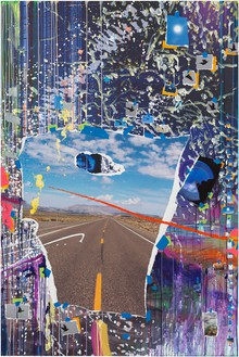 Sarah Sze, Poke (Times Zero), 2020 Oil, acrylic, acrylic polymers, ink, aluminum, archival paper, graphite, diabond, and wood, 73 ¾ × 49 ⅛ inches (187.3 × 124.8 cm)© Sarah Sze. Photo: Rob McKeever