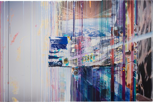 Sarah Sze, Picture Perfect (Times Zero), 2020 Oil, acrylic, acrylic polymers, ink, aluminum, archival paper, graphite, diabond, and wood, 85 × 129 inches (215.9 × 327.7 cm)© Sarah Sze. Photo: Rob McKeever