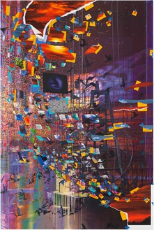 Sarah Sze, Night Shift (Times Zero), 2020 Oil, acrylic, acrylic polymers, ink, aluminum, archival paper, graphite, diabond, and wood, 73 ½ × 49 ⅛ inches (186.7 × 124.8 cm)© Sarah Sze. Photo: Rob McKeever