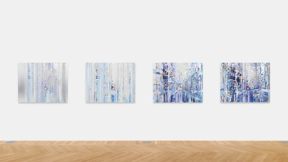 Sarah Sze, Quartet (Mondrian Suite), 2019 Oil, acrylic, acrylic polymers, ink, aluminum, archival paper, graphite, diabond, and wood, in 4 parts, overall dimensions variable© Sarah Sze. Photo: Rob McKeever