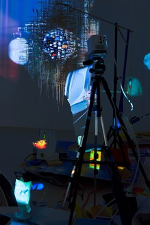Sarah Sze, Plein Air (Times Zero), 2020 (detail) Mixed media, including wood, stainless steel, video projectors, archival paper, toothpicks, clamps, ruler, and tripods, installation dimensions variable© Sarah Sze. Photo: Thomas Lannes