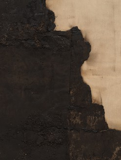 Theaster Gates, Left Hand of Progress, 2020 (detail) Industrial oil-based enamel, rubber torch down, bitumen, wood, and copper, 96 × 96 inches (243.8 × 243.8 cm)© Theaster Gates