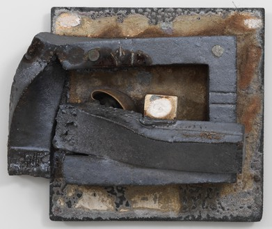 Theaster Gates, Brick Reliquary – Tea Compression of Rectangle with Melted Bowl, 2020 Stoneware tea bowl, kiln post, refractory clay, wood-fired brick, wood ash, magnesium dioxide, black stain, and alumina carbide shelf, 18 × 22 × 9 inches (45.7 × 55.9 × 22.9 cm)© Theaster Gates. Photo: Rob McKeever