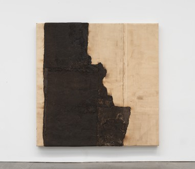 Theaster Gates, Left Hand of Progress, 2020 Industrial oil-based enamel, rubber torch down, bitumen, wood, and copper, 96 × 96 inches (243.8 × 243.8 cm)© Theaster Gates