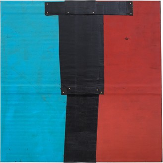 Theaster Gates, Flag Sketch, 2020 Industrial oil-based enamel, rubber torch down, bitumen, wood, and copper nails, 72 × 72 inches (182.9 × 182.9 cm)© Theaster Gates