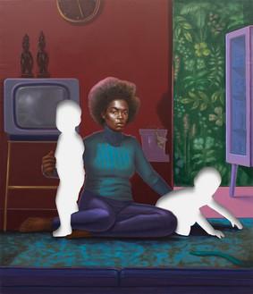 Titus Kaphar, Twins, 2020 Oil on canvas, 83 ¾ × 68 inches (212.7 × 172.7 cm)© Titus Kaphar. Photo: Alexander Harding