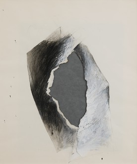 Jay DeFeo, Untitled (Tripod series), 1975 Acrylic, graphite, grease pencil, tape, paper, and vellum on paper, 23 ¼ × 19 ⅝ inches (59.1 × 49.8 cm)© 2020 The Jay DeFeo Foundation/Artists Rights Society (ARS), New York. Photo: Robert Divers Herrick