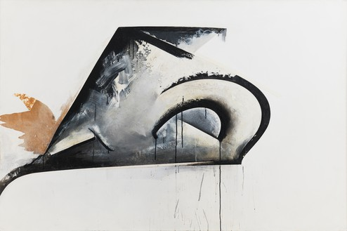 Jay DeFeo, Pend O'Reille No. 1 (Eternal Triangle series), 1980 Acrylic and tape on Masonite, 48 × 72 ⅛ inches (121.9 × 183.2 cm)© 2020 The Jay DeFeo Foundation/Artists Rights Society (ARS), New York. Photo: Robert Divers Herrick