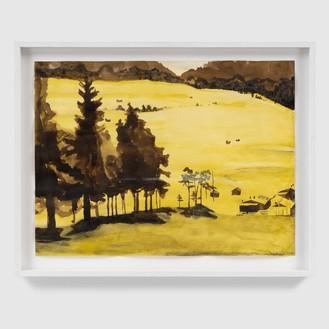 Mamma Andersson, Landskap V/Landscape V, 2007 Mixed media on paper, 16 × 22 inches (40.6 × 55.9 cm)© 2020 Artists Rights Society (ARS), New York