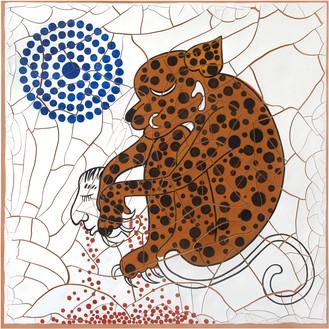 Adriana Varejão, Jaguar, 2020 Oil and plaster on canvas, 70 ⅞ × 70 ⅞ inches (180 × 180 cm)© Adriana Varejão. Photo: Vicente de Mello