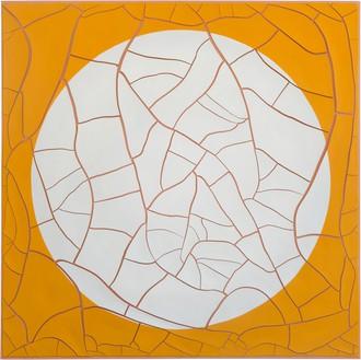 Adriana Varejão, Circulo Blanco y Amarillo (Circle on Yellow), 2020 Oil and plaster on canvas, 70 ⅞ × 70 ⅞ inches (180 × 180 cm)© Adriana Varejão. Photo: Vicente de Mello