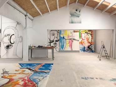 Albert Oehlen's studio, Ispaster, Spain, 2020
