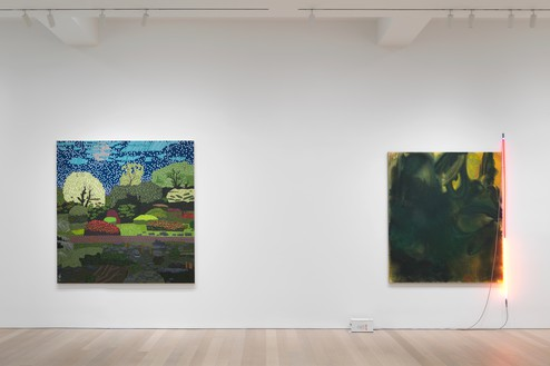 Installation view Artwork, left to right: © Jonas Wood, © Mary Weatherford. Photo: Rob McKeever