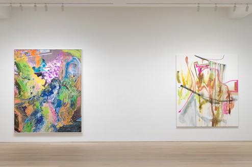 Installation view Artwork, left to right: © Urs Fischer, © Albert Oehlen. Photo: Rob McKeever