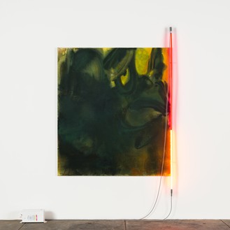 Mary Weatherford, The Frog, 2020 Flashe and neon on linen, 66 × 58 inches (167.6 × 147.3 cm)© Mary Weatherford