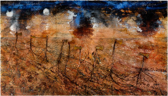 Anselm Kiefer, Beilzeit—Wolfszeit (Axe-Age—Wolf-Age), 2019 Emulsion, oil, acrylic, shellac, wood, and metal on canvas, 185 ⅛ × 330 ¾ inches (470 × 840 cm)© Anselm Kiefer. Photo: Georges Poncet