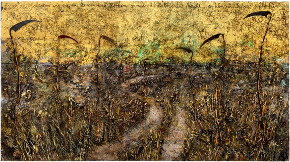 Anselm Kiefer, Aus Herzen und Hirnen sprießen die Halme der Nacht (From Hearts and Brains the Stalks of Night Are Sprouting), 2019–20 Emulsion, oil, acrylic, shellac, straw, gold leaf, wood, and metal on canvas, 185 ⅛ × 330 ¾ inches (470 × 840 cm)© Anselm Kiefer. Photo: Georges Poncet