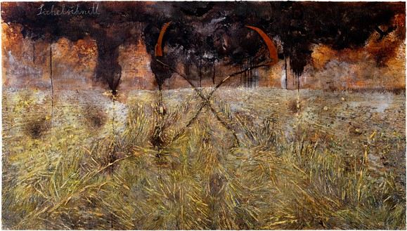 Anselm Kiefer, Sichelschnitt (Sickle Cut), 2019 Emulsion, oil, acrylic, shellac, resin, gold leaf, wood, and metal on canvas, 185 ⅛ × 330 ¾ inches (470 × 840 cm)© Anselm Kiefer. Photo: Georges Poncet
