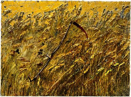 Anselm Kiefer, Kornfeld mit Schnitter—für V. v. Gogh (Cornfield with Scythe—for V. v. Gogh), 2019–20 Emulsion, oil, acrylic, shellac, gold leaf, wood, and metal on canvas, 110 ¼ × 149 ⅝ inches (280 × 380 cm)© Anselm Kiefer. Photo: Georges Poncet