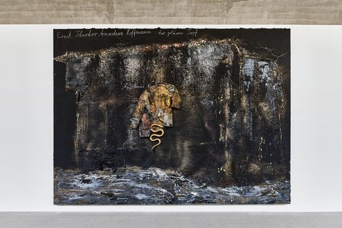 Installation view with Anselm Kiefer, Ernst Theodor Amadeuz Hoffmann: der goldene Topf (Ernst Theodor Amadeuz Hoffmann: The Golden Pot) (2020) Artwork © Anselm Kiefer. Photo: Thomas Lannes