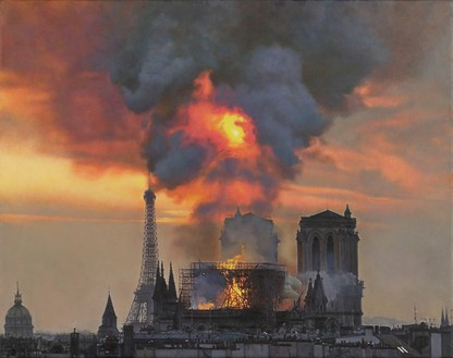 Damien Hirst, Notre-Dame on Fire, 2019 Oil on canvas, 16 × 20 ⅛ inches (40.5 × 51 cm)© Damien Hirst and Science Ltd. All rights reserved, DACS 2021. Photo: Prudence Cuming Associates