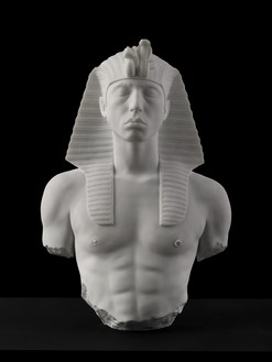 Damien Hirst, Unknown Pharaoh, 2015 Carrara marble, 29 ⅞ × 20 ½ × 11 ⅝ inches (75.9 × 52 × 29.5 cm), edition of 3 + 2 AP© Damien Hirst and Science Ltd. All rights reserved, DACS 2021. Photo: Prudence Cuming Associates